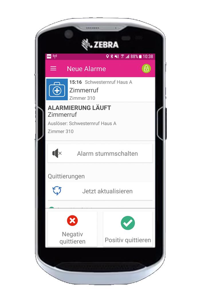 novaalert mobileAPP auf Zebra Smartphone